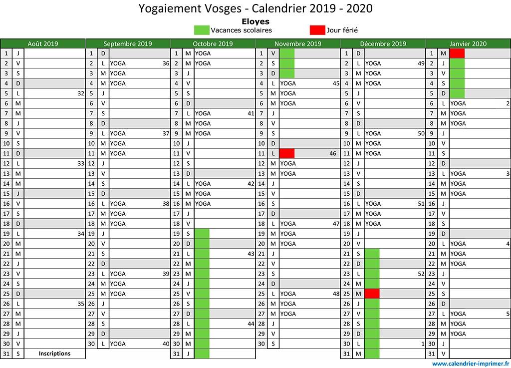 Calendrier Septembre 2020 Septembre 2019.Agenda Et Tarifs Yogaiement Vosges